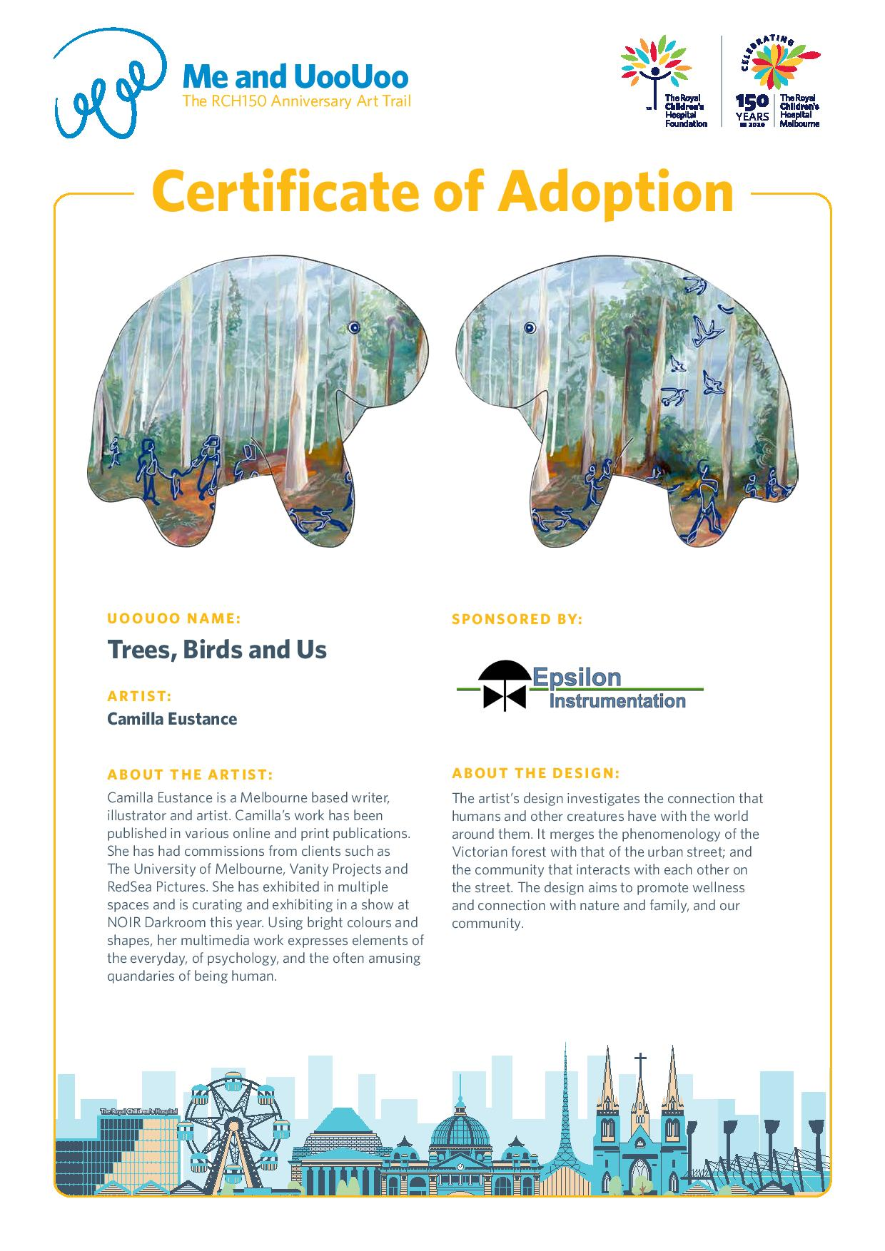 Uoouooadoptioncertificate Trees Birds And Us By Camilla Eustance-page-001